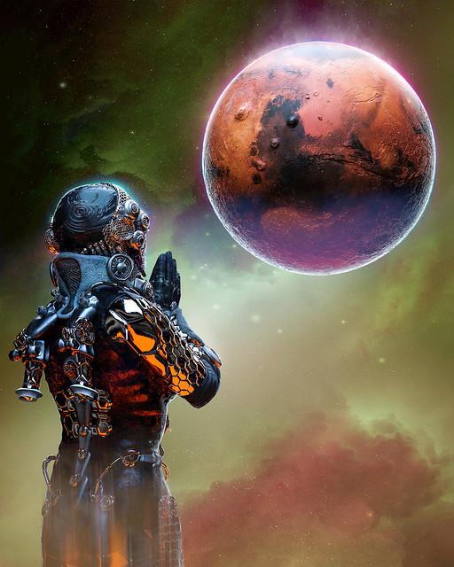 Обои инопланетянин, пришелец, планта, молитва, арт, космос картинки на рабочий стол, фото скачать бесплатно