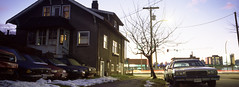 Old house, old cars (Orion Alexis) Tags: film 35mm analog panoram widescreen cinematic old cars house vancouver evening long exposure urban cityscape street kodak ektachrome e100 fujifilm tx1 xpan