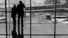 More than just a silhouette x2 / Say hello to the weary passangers (Özgür Gürgey) Tags: 169 2018 50mm atatürkairport bw d750 nikon airport frame frames glass lines people rectangles reflection silhouettes window istanbul