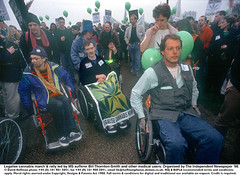"""MS sufferer leads rally 1 (hoffman) Tags: balloon banner cannabis crowd decriminalise demonstration disability disabled dope drug drugs female handicap handicapped hash horizontal lady march muscularschlerosis muscularsclerosis pot protest rally spliff wheelchair woman 181112patchingsetforimagerights london uk davidhoffman davidhoffmanphotolibrary socialissues reportage stockphotos""""stock photostock photography"""" stockphotographs""""documentarywwwhoffmanphotoscom copyright"""