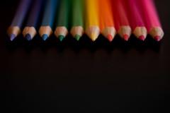 Rainborf (102/365) (lacygentlywaftingcurtains) Tags: 365 pencilcrayons coloredpencils rainbow colorful black spectrum macro dof