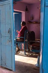 The Barber - Takumar 50mm 1.4 (thomas.pirolt) Tags: india streetphotography sony takumar a7ii braj goverdhan street streetlife a7 people portrait candid moment theindiatree old blue 50 14