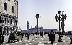 Venice St. Marks Plazza_ 1969 (brucekester@sbcglobal.net) Tags: venice stmarksplaza 1969 zenite russiancamera filmcamera palazzo italy 35mm film epson v700 scanner