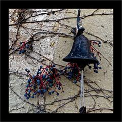 La clochette (Jean-Louis DUMAS) Tags: cloche clochette raisin vigne square pierre mur automne autumn fruit frame hiver winter bell grapes vine arbre neige