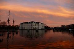 Scheepvaartmuseum (nelesch14) Tags: sunset museum architecture water reflection ship sky nature amsterdam netherlands