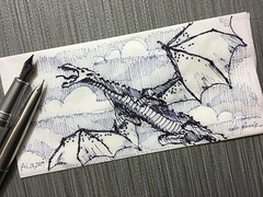 A quick impression of flight (schunky_monkey) Tags: fountainpen penandink ink pen illustration art drawing draw sketching sketch napkin claws tail wings fantasy creature beast mythical firebreather flying dragons dragon