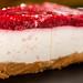 Closeup of Cheesecake with Raspberry cream