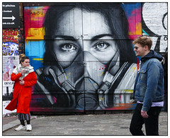 Watching You (donbyatt) Tags: shoreditch bricklane urban walls spraycans graffiti streetart candid people couples