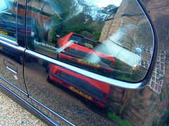 205 GTi Reflecting In 306 GTi-6 (Marc Sayce's Old Digital Photos) Tags: reflection window 1999 peugeot 306 gti6 gti black 1998 2000 205 red 1988 1987 1989