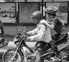 Let's go (Beegee49) Tags: street people man woman motorcycle passenger blackandwhite monochrome bw luminar sony a6000 silay city philippines asia happyplanet asiafavorites