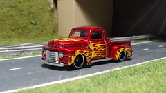 1949 Ford F1 Pick Up Truck. (ManOfYorkshire) Tags: 1949 ford f1 pickup truck car auto diecast hw hotwheels flames lowered suspension custom customised detailed bypass diorama scale 164