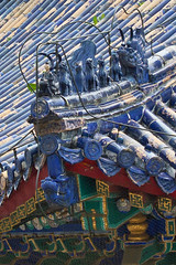 Roof detail, the Imperial Vault of Heaven, Beijing, China (Miche & Jon Rousell) Tags: china beijing templeofheaven imperialvaultofheaven temple beams blue green gold phoenix