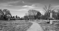 A Chimney, a Statue, a Building and a Prairie. (Jim Frazier) Tags: publicgarden 2019 20190327cantigny 20190327cantignyphasetwoiscoming 2019cantigny 3d3layer bw avenue beatenpath blackandwhite bluesky botanic botanicgarden botanicalgarden botanicalgardens building cantigny cantignypark chimney chimneyswifttower chimneyswifts d desaturated dupage dupagecounty flora footpath gardens grass grasslands horticulture il illinois jimfraziercom landscape lanes leadinglines march meadows monochrome museum nature park parks passage path paths pathways plants prairies preserve q3 restoration route scenery scenic street structures sunny tower track trails trees walkways wheaton facebook jfpblog
