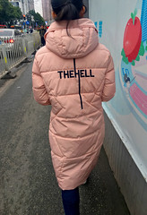 The Hell (cowyeow) Tags: 深圳 asia asian funny chinese weird wrong guangdong funnysign wtf girl woman funnychina silly back tshirt china sign walking estreet pink skinny hell urban street candid young jacket coat asiangirl chinesegirl guangzhou