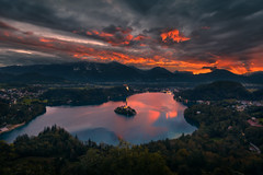 Cloudy (Radisa Zivkovic) Tags: mountain landscape lake church island sunrise travel bled slovenia dawn peak idyllic highland famous deatination