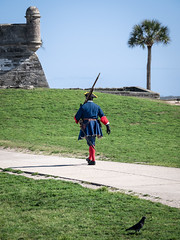 Guard duty (Ed Rosack) Tags: clear path usa candid tree peoplephotography palm buildingandarchitecture military sky ©edrosack grass fort staugustine florida armedforces us