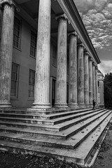 Guard Duty (alan.dphotos) Tags: mansion old pillar steps stone leaves boy guard winter stonework architecture building monochrome lines people