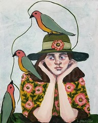 Acrylic Painting (Woods Whisperer) Tags: portrait painting art figurativeart girl woman birds flowers fine visual artist