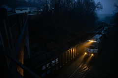 Clarksville Meet (benpsut) Tags: ark bridge clarksville gate n21 ns ns3628 nsn21 norfolksouthern train bluehour coal dark empties gloomy loads meet misty moody night railroad rain