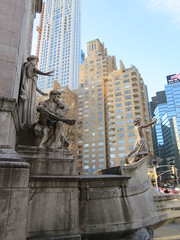 2019 USS Maine Monument Columbus Circle NYC 2284 (Brechtbug) Tags: uss maine monument 1913 beaux arts commemorate controversial sinking battleship 1898 the ship has sculpted representations mythological figures victory peace courage fortitude justice central park entrance nyc 02192019 new york city arms wrapping around rock statue sculpture february 2019 columbus circle