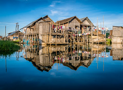 Lake Inle (bransch.photography) Tags: asian landscape asia amazing nature landmark water village myanmar lake vacation sightseeing tourist culture sun canal blue scenery sky travel scene rural reflection inle inlelake burma tourism building boat channel