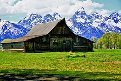 Moulton Barn (Fire Chief 13) Tags: tetons mountains green blue clouds st barn wyoming iconic photographers favorite