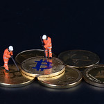 Bitcoins and miners on a black backgrund thumbnail