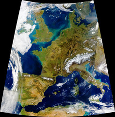Mostly Cloud-Free Europe, Day, variant (sjrankin) Tags: 3march2019 edited nasa europe clouds modis atlanticocean mediterraneansea weather