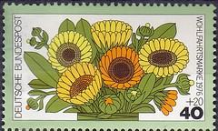 Deutsche Briefmarken (micky the pixel) Tags: briefmarke stamp ephemera deutschland bundespost wohlfahrtsmarke flora blume flower gartenblume ringelblumen calendulaofficinalis