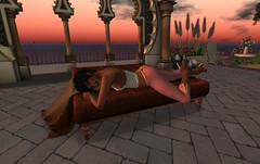 Warmth (motobazzi) Tags: secondlife sl virtual mesh avatar girl female brunette woman roxycyn sun sky clouds daydream warmth secure brick stone landscape portrait sunrise shadow flowers vase pottery chair blanket thoughtful reflection pensive casual water sea serene peaceful