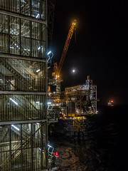 Oil Rigs and Moon (Craig Hannah) Tags: oilrig platform offshore northsea moon night nightsky industry industrial march 2019 rig craighannah scotland uk sea lights work canon photography