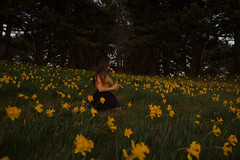 Spring is here (Lichon photography) Tags: girl sitting sit woman female lady photography flower spring smell daffodil britishcolumbia yellow victoria medeow fantasy fairy forest flowers surreal summer portrait women