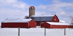 Brymarie Farms, Caledon, Ontario (edk7) Tags: nikond50 edk7 2008 canada ontario peelregion caledon farm barn silo dome fence snow word weatheredwood rural country countryside rustic cloud sky tree window door shed brymariefarms winter