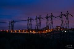 Лінії електропередачі (ucrainis) Tags: power line powerline lights city night dark lines zaporizhzhia khortytsia ukraine nightscape cityscape winter landscape