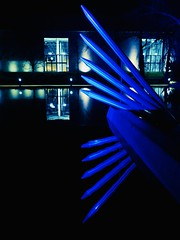 Reflexion (mrburton75) Tags: water teich wasser metall alu aluminium lights led neon nacht night germany nrw parkleuchten blau 2019 gruga