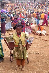 Ready to work (vittorio vida) Tags: africa ethiopia market girl child children people crowd wheelbarrow street