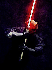Lighting Up the Dark Side (Steve Taylor (Photography)) Tags: darkside digitalart black red white purple orange contrast stark man newzealand nz southisland canterbury christchurch addington armageddonexpo armaggedon costume darthmaul lightsword lightsaber outfit starwars