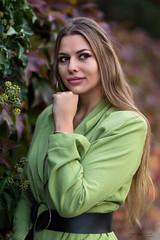 Autumn portrait (piotr_szymanek) Tags: kornelia woman young skinny portrait outdoor face longhair autumn eyesoncamera green leaves korneliaw 1k 20f 50f 5k
