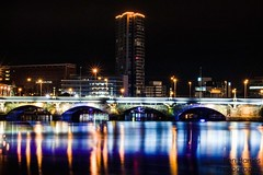 Belfast After Dark (Ben Harries) Tags: belfast northernireland city citycentre water lights reflection shine shiny buildings bridge colourful colour twinkle lamppost tower towerblock blue night nighttime nightphotography nightlife nightshot uk yellow white dark light cityscape landscape