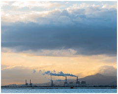 Smoke (nickyt739) Tags: amateur photographer nikon dslr fx d750 nature tunis tunisia africa north explore explorer travel traveller lake see coast industry industrial landscape smoke plumes chimney clouds mountains sunrise atmosphere