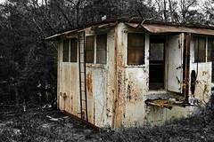 Ship's Cabin (Doris Burfind) Tags: portdover shipyard rust decay weathered ship cabin ladder rural
