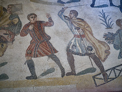 A centurion beating a slave (peter.a.klein (Boulanger-Croissant)) Tags: sicily italy villacasale roman ancient archaelogy villa 4thcentury mosaics art hunting expedition africa men slave slavery whip cane beating centurion brutality