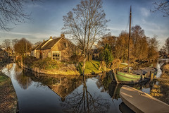 Golden hour Drimmelen (Wim van de Meerendonk, loving nature) Tags: drimmelen netherlands nederland reflection boat blue bright color colors colours colour goldenhour landscape light outdoors outdoor panorama sony tree trees thenetherlands wimvandem water golddragon astoundingimage