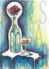 A Rose by any other name would still give you a hangover (Moiret) Tags: rose art drawing illustration handdrawn freehand wine bottle glass light lighting stilleben stilltot blue shades shaded melting gloomy beautiful emotive emotion flower winebottle grog fractured love romance thorns thistles petals night evening morning early spring autumn leaves leaving coming going returning falling out