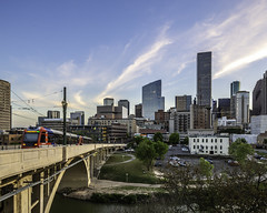 609 Main at Texas Skyline-Main Street Bridge No 3 (Mabry Campbell) Tags: 609mainattexas harriscounty hines houston pickardchilton texas usa architecture bridgemchasetower building downtown image photo photograph skyline train f71 mabrycampbell march 2019 march272019 20190327609campbellh6a6567pano 24mm ¹⁄₁₅sec 100 tse24mmf35lii