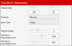 04 - Output Tuning dialog, Servo Ports tab (JD and Beastlet) Tags: aura 8 config tool super stearman