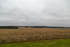 Farmland — Clay Township, Knox County, Ohio (Pythaglio) Tags: mountvernon ohio unitedstates us claytownship knoxcounty farmland rural agriculture field trees valley hills clouds overcast stubble corn farm buildings farmhouse