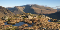 Scafell, Scafell Pike and Icy Puddles (Nick Landells) Tags: lakedistrict lakelandphotowalks guided photo photography fell hill walk walks walking scafell scafellpike middlefell yewbarrow puddle puddles tarn tarns icy ice