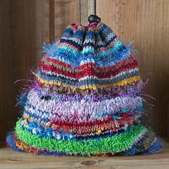 Scrap yarn project bag (Winterbound) Tags: knitting handmade handknitted scrap yarn project bag stashbusting