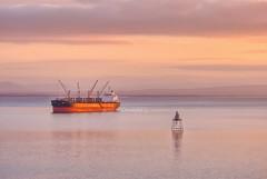Nice evening Light, Ship at anchor on Lough Foyle. (willieguildea) Tags: ship boat vessel evening sunset lighthouse sky clouds river lough loughfoyle donegal ireland eire ulster nikon p900 coolpix coast coastal coastalireland seascape
